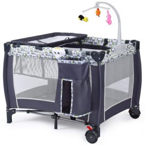 Costzon Baby Playard, 3 in 1 Convertible Playpen with Bassinet