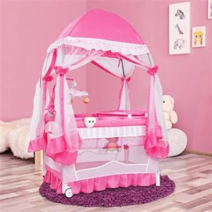 BABY JOY Portable Playard, 4 in 1 Convertible Baby Playpen with Changing Table
